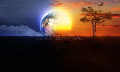 Sun Moon And Stars Images Day And Night With Tree Sun And Moon Stock Illustration Image 48476195