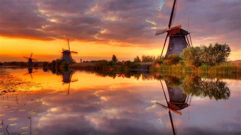 Desktop Wallpapers Hd by Sunset Wind Channel Water Cloud Orange Sky Reflection