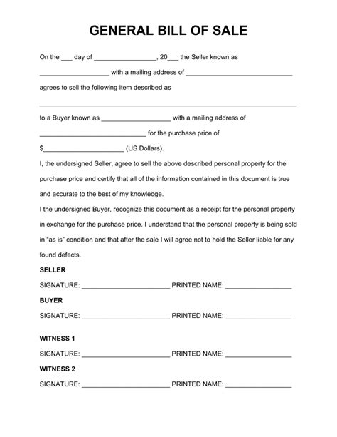 bill ofsale free general personal property bill of sale form word