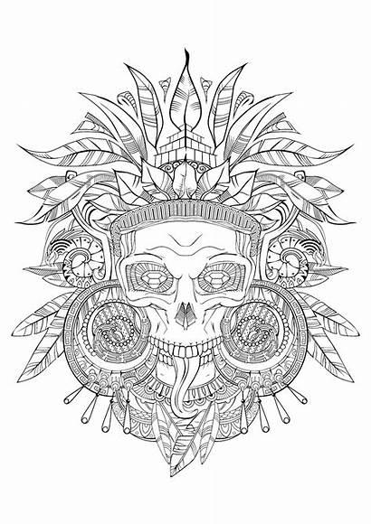 Coloring Aztec Pages Skull Adults Incas Aztecs