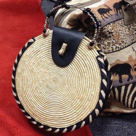 handbags  vintage handmade leather woven circle wicker purse circle swirl weave style