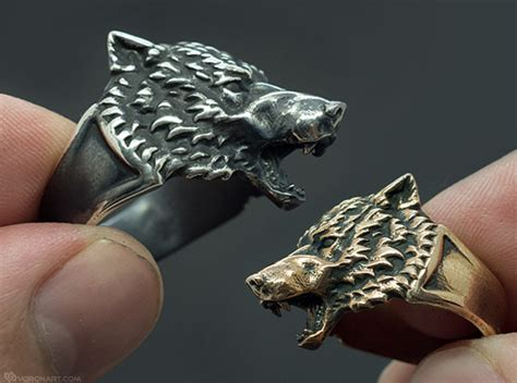 Wolf Head Ring (cbgrve2et) By Voronart