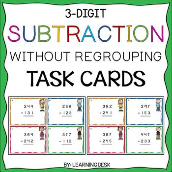 single digit vertical addition without regrouping 3 digit subtraction without regrouping task cards by