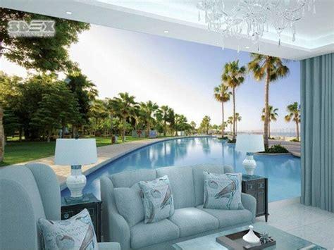 panoramic  wallpapers  living room wall move