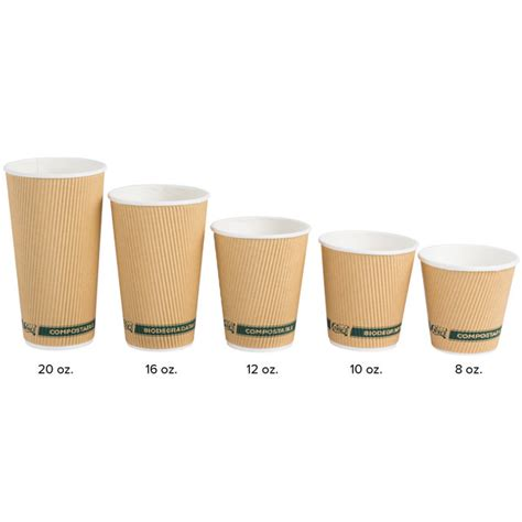 Perfect size, not too large or small. EcoChoice 12 oz. Double Wall Kraft Compostable Paper Hot Cup - 500/Case