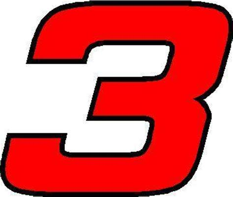3 race number hemihead font 2 color decal sticker