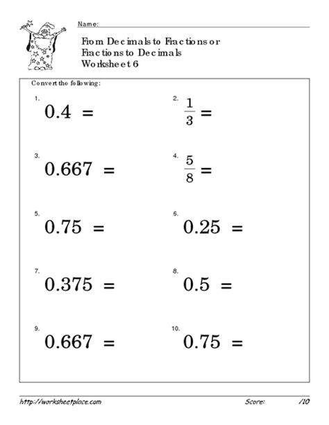decimal worksheets 187 fraction to decimal worksheets