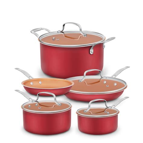 pans pots ceramic stick non cookware pan coating coated aluminum safe nonstick bottom copper oven induction piece cooking infused pfoa