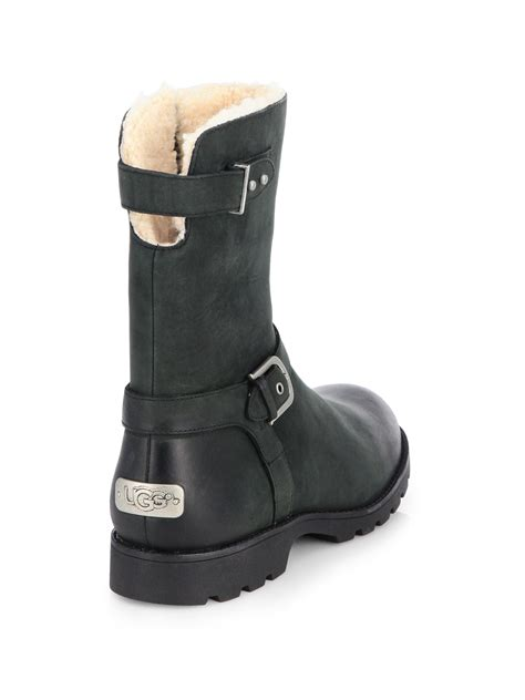leather motorcycle shoes ugg grandle leather motorcycle boots in black lyst