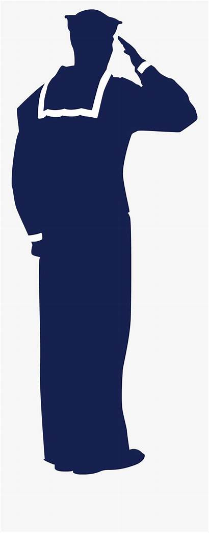 Sailor Silhouette Navy Result Saluting Clipart Clipartkey