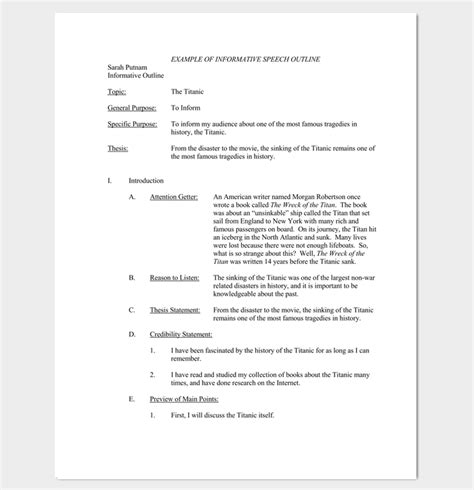 speech outline template  samples examples  formats