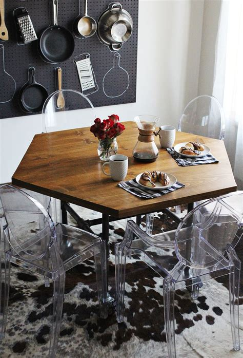 diy industrial dining table diy honeycomb table with industrial pipe legs a