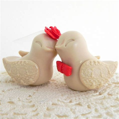 birds wedding cake topper beige and tangerine birds cake topper by caketoppers