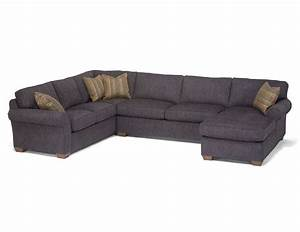 Flexsteel vail three piece sectional with chaise dunk for Flexsteel sectional sofa with chaise