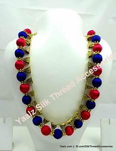 Yaalz Silk Thread Traditional Necksets In Dark Blue With