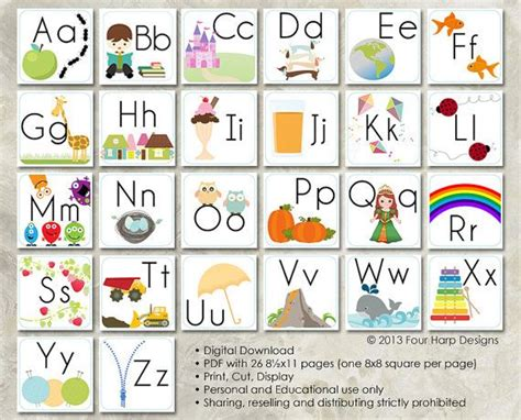 alphabet wall cards diy printable  preschool early