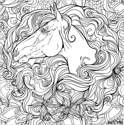 horse  flowers horses adult coloring pages