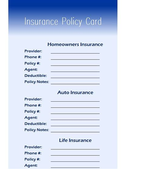 insurance policy card  excel templates