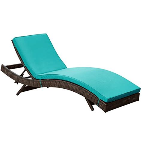 chaise turquoise lexmod peer outdoor wicker chaise lounge chair with brown