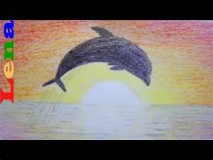 Schöne Delfin Bilder : sonnenuntergang malen mit delfin how to draw sunset scenery sea dolphin drawing ~ Frokenaadalensverden.com Haus und Dekorationen
