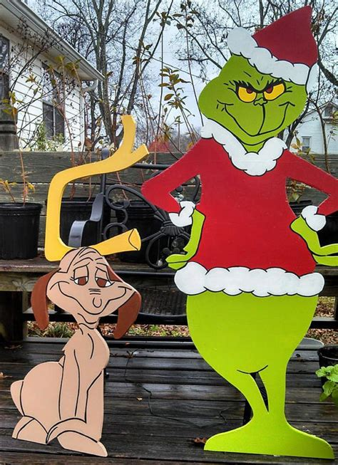 48 grinch and 36 max christmas yard art by woodartandsuch