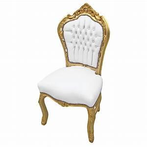 Chaise Style Baroque : chaise de style baroque rococo simili cuir blanc avec cristaux et bois dor ~ Teatrodelosmanantiales.com Idées de Décoration