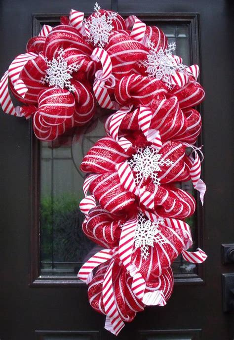 deco mesh candy cane wreath christmas mesh wreaths christmas