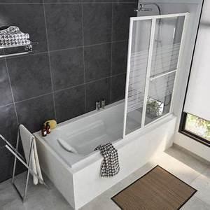 Barre De Baignoire D Angle A Ventouse : pare baignoire relevable 2 volets profil s blanc 140 x 104 ~ Premium-room.com Idées de Décoration