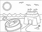 Coloring Beach Pages Summer Sand Scene Castle Sandcastle Drawing Printable Sheets Chair Umbrella Towel Getcolorings Template Castles Cool Fun Craft sketch template
