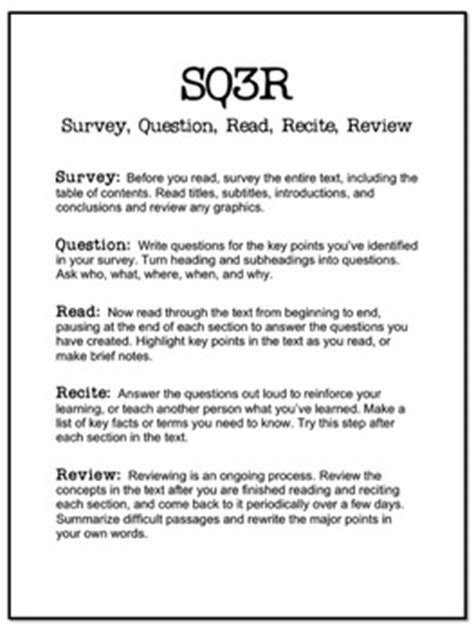 sq3r sq3r handout and worksheet by torres teachers pay