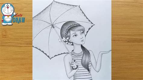 Since these drawings are for girls, you do not have to worry about boring or uninteresting pictures getting in the way of what you really want to draw. How to draw a girl with umbrella - step by step / Pencil ...