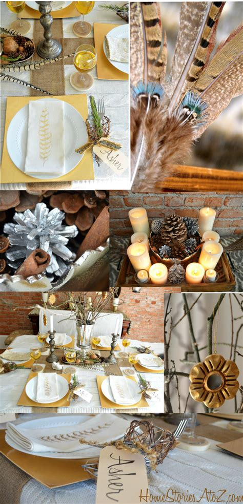 thanksgiving table setting ideas this natural elements and metallic tablescape home stories a to z