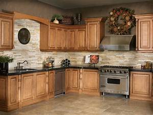 Kitchen floor tile ideas with oak cabinets stacked slate for Kitchen cabinet trends 2018 combined with decorative wall art tiles
