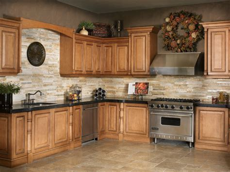 Kitchen floor tile ideas with oak cabinets, stacked slate