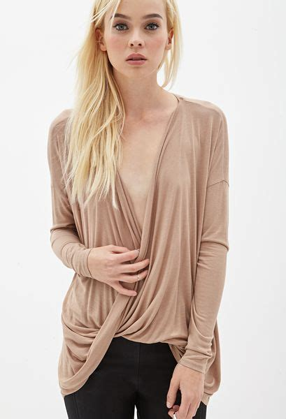 draped surplice top forever 21 draped surplice top in brown camel lyst