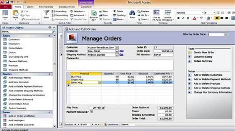 Database Template Access by Access Inventory Order Shipment Management Database