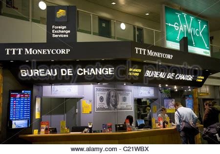 bureau de change at gatwick airport corp currency exchange stock photo royalty free