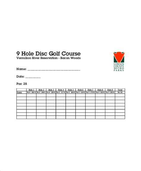 golf scorecard templates  word excel