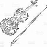 Violin Coloring Ornamental Fiddlestick Isolated Viool Culture Entertainment Arts Bow Object Musical Equipment Single sketch template