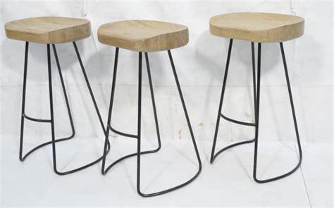 Set 3 Modern Thick Wood Black Iron Bar Stools. Th