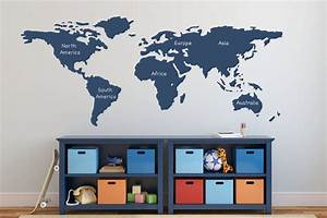 world map wall decal with continents vinyl wall sticker decals With awesome wall decal directions