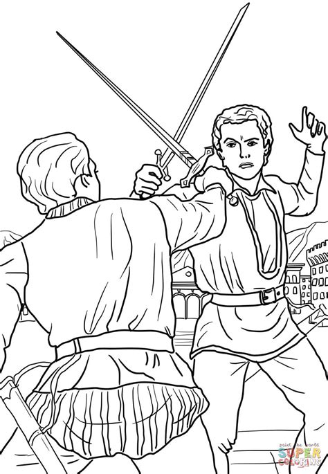 romeo  juliet duel scene coloring page  printable