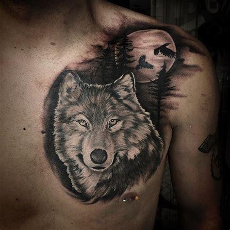 tatouage homme mollet loup