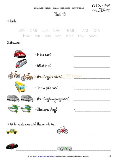 Free Printable Beginner Esl Prejunior Worksheet 19  Means Of Transport
