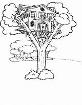 Coloring Treehouse Elevator Tree Magic Magical Drawing Template Sketch sketch template