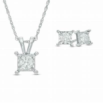 Diamond Pendant Solitaire Earrings Gold Square Ct