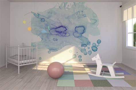 mur chambre bébé deco chambre bebe mur aquarelle