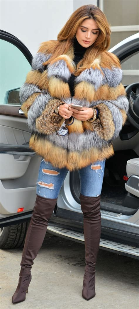 fox furs multi color saga fox fur coat jacket furs outlet