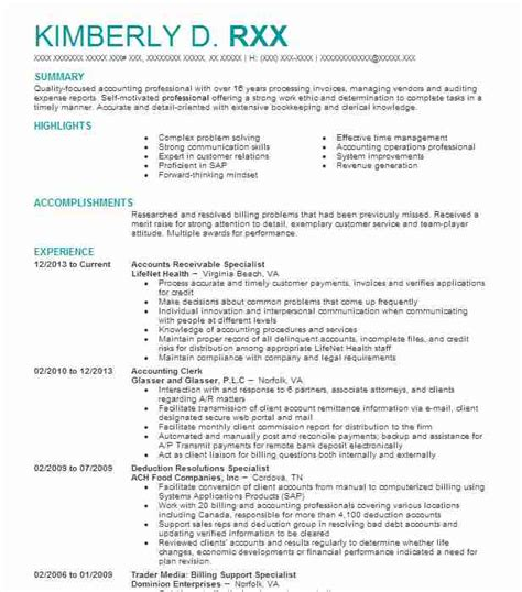 Account Receivable Resume Sle by Accounts Receivable Specialist Resume Sle Livecareer