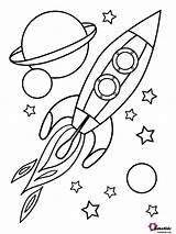 Coloring Space Planets Rocket Stars Outer Bubakids sketch template